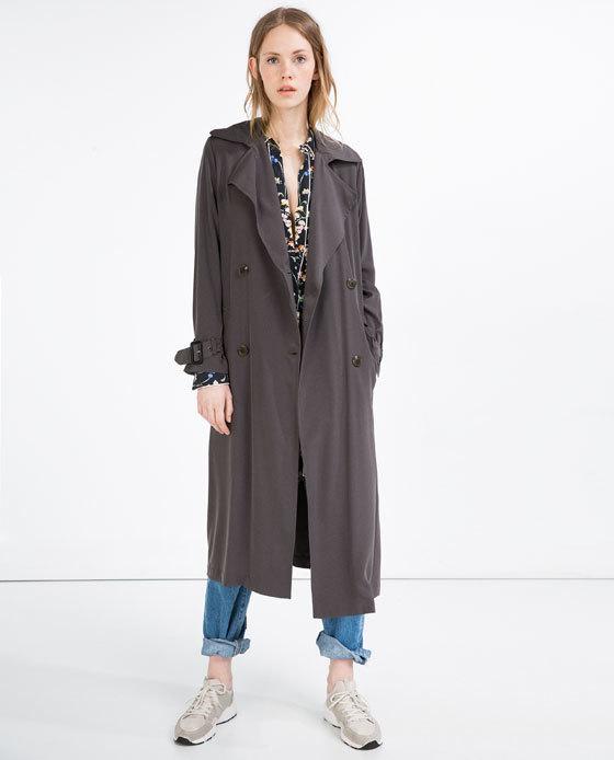 8d15ea273 Zara LONG FLOWING TRENCH COAT