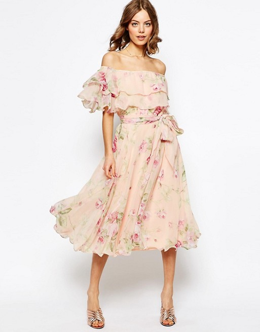 find lowest price fashionable and attractive package quality products Floral Bardot Off The Shoulder Midi Prom Dress With Multi Ruffle