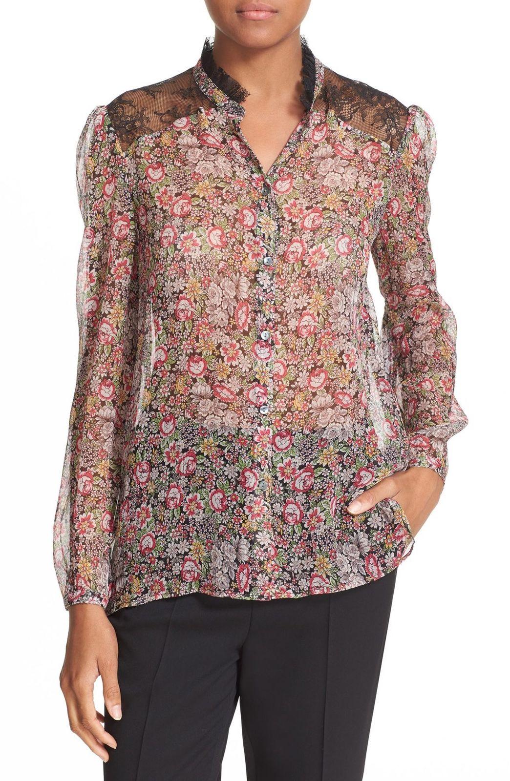 f3d2ebd5f1 The Kooples Lace Trim Floral Print Silk Shirt   Pradux