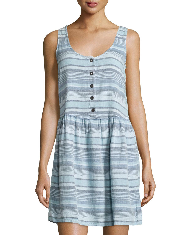 b43968ab83 White Denim Sleeveless Button Front Dress