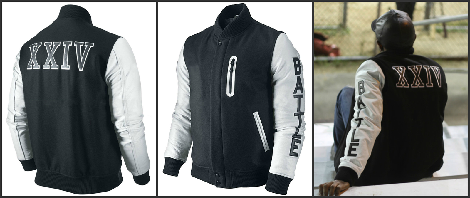 3287c5f13bb Michael B Jordan Kobe Destroyer XXIV Jacket - Battle Letterman Leather  sleeves | Pradux