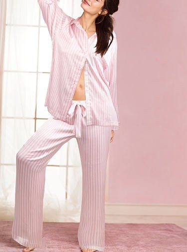 0990e5253c Victoria s Secret The Afterhours Satin Pajama in Iconic Pink Stripe ...