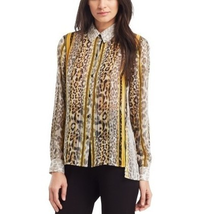 c696afaee55405 Kenneth Cole New York Gemini Chiffon Mixed Print Blouse | Pradux