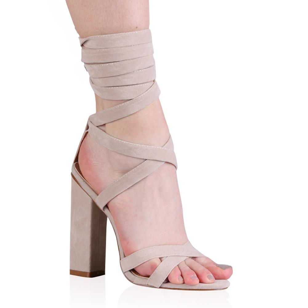 f863bb325c7 Public Desire Vera Lace Up Heels in Nude Faux Suede