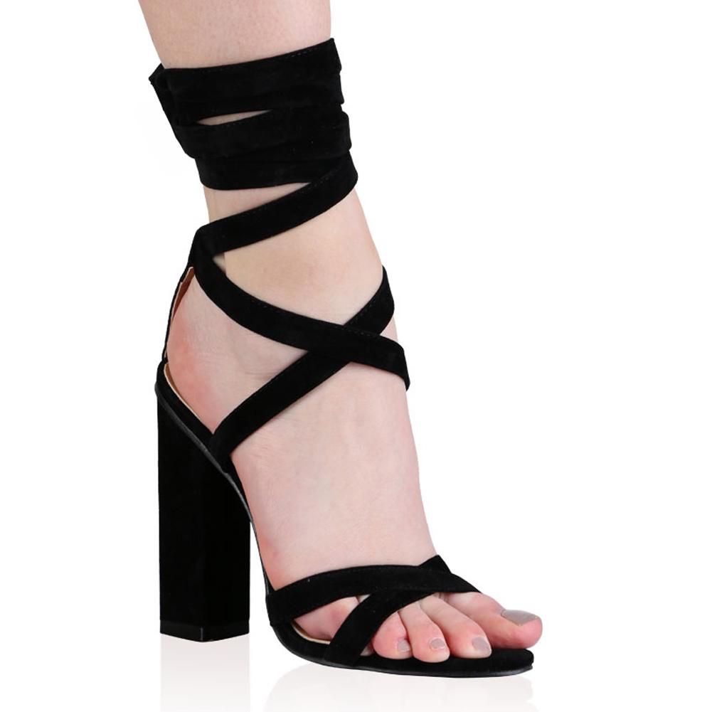 9b632b26f6e Public Desire Vera Lace Up Heels in Black Faux Suede