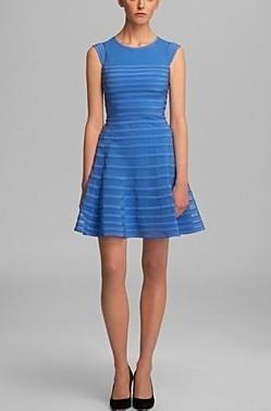 Halston Heritage Cap Sleeve Flare Skirt Dress Pradux