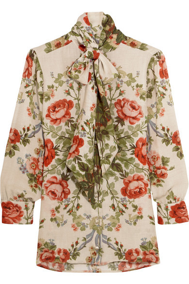 38c4045b5e9 Gucci for NET-A-PORTER Pussy-bow floral-print silk blouse