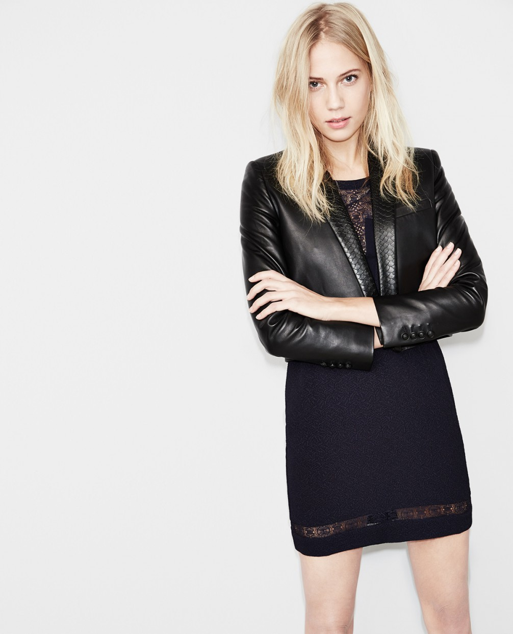 The Kooples Short leather jacket with a python style ...