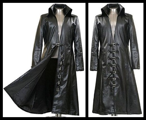 shop for newest attractivedesigns marketable Black Long Trench Leather Coat for Men