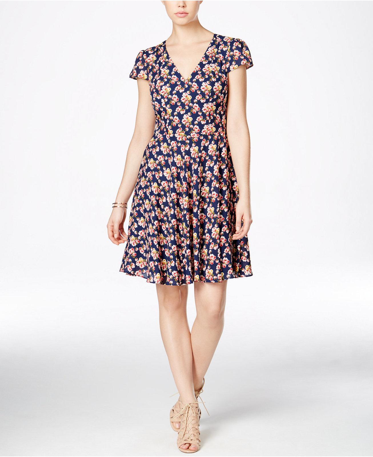 378080541e Betsey Johnson Floral-Print Cap-Sleeve Fit   Flare Dress