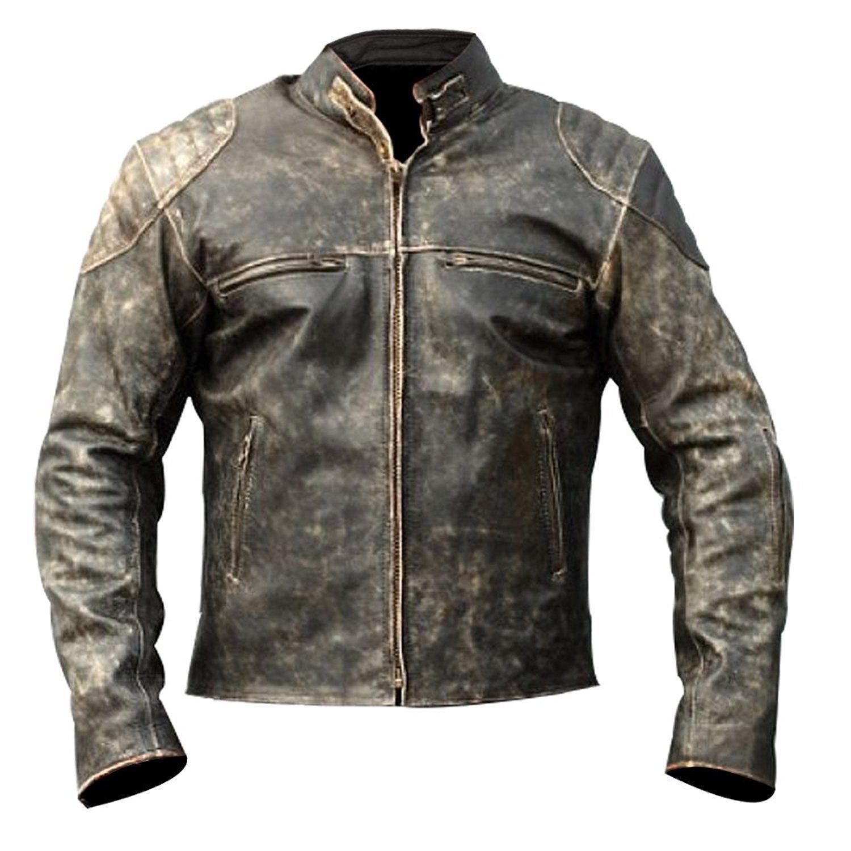 b25fe1b15 Christmas Biggest 50% OFF Sale - Men's Antique Black Vintage Distressed  Retro Motorcycle Biker Leather Jacket!