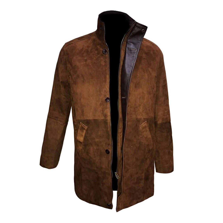 f7efab28b27 Mens Longmire Robert Taylor Brown Suede Leather Coat Jacket