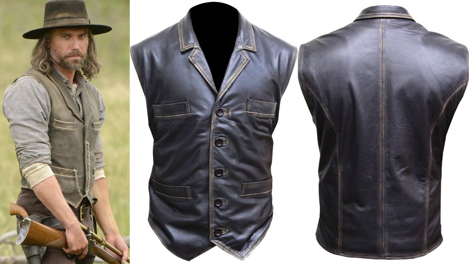 4f2e44c59302a Hell on Wheels Cullen Bohannan Real Leather Vest