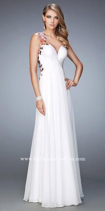 La Femme Multi Color Floral Embroidered Prom Dress By La Femme | Pradux