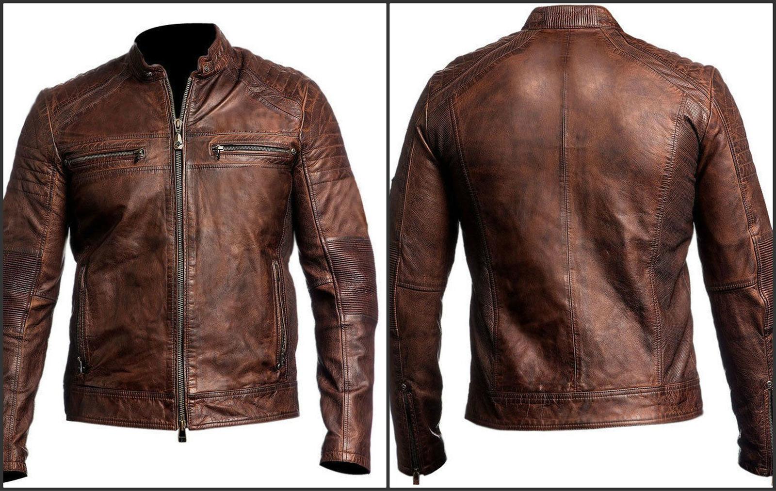 Cafe Racer Stylish Distressed Brown Biker Vintage Real Leather Men/'s Jacket UK
