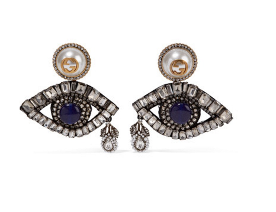 eb8e43624 Gucci Gold-plated, Swarovski crystal and faux pearl clip earrings ...