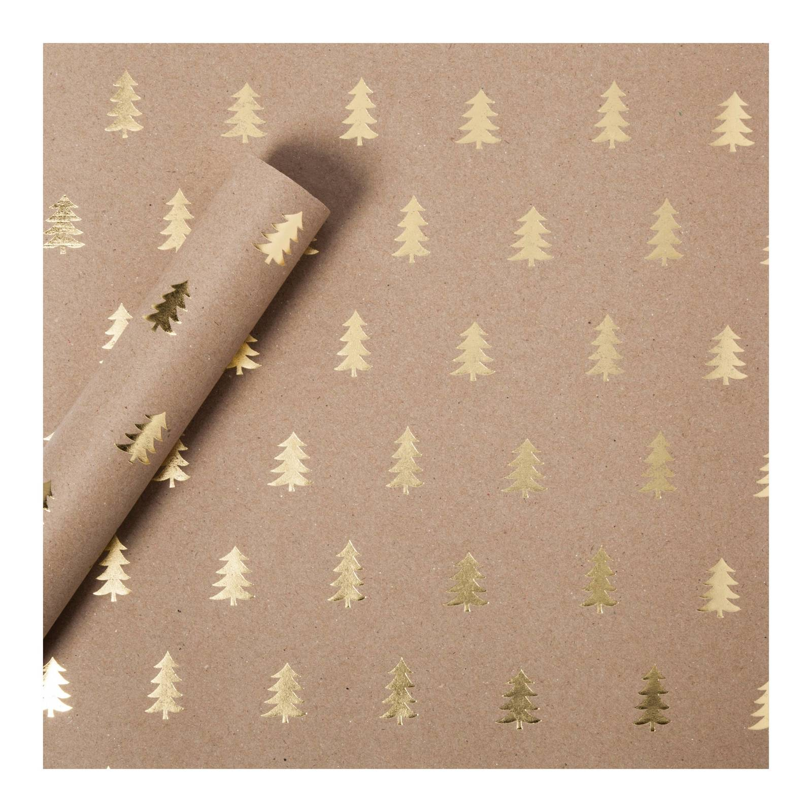 Relatively Target Sugar Paper® Gold Foil Trees on Brown Kraft Wrapping Paper  CD84