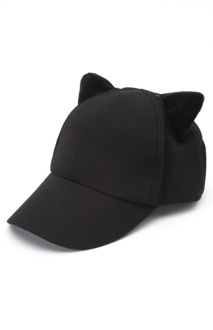 black cat ear baseball cap hat ebay