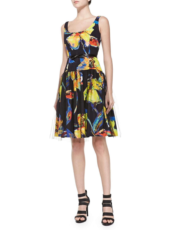 Milly Natalie Pop Art Floral Cocktail Dress | Pradux