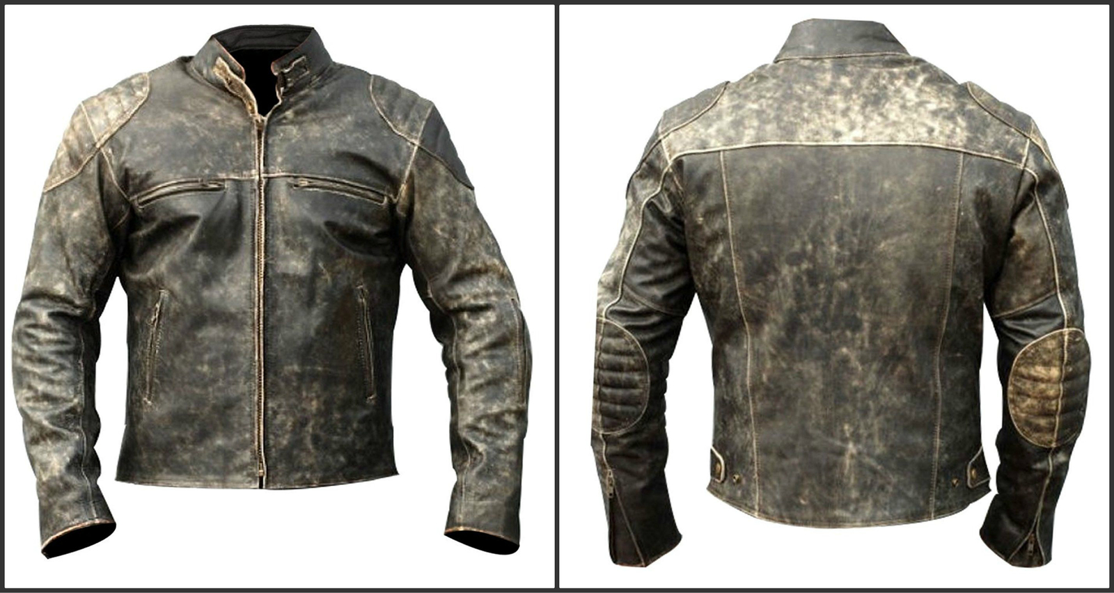 d9769cf55af7 Amazon.com Men's Vintage Antique Distressed Black Retro Motorcycle Biker  Leather Jacket