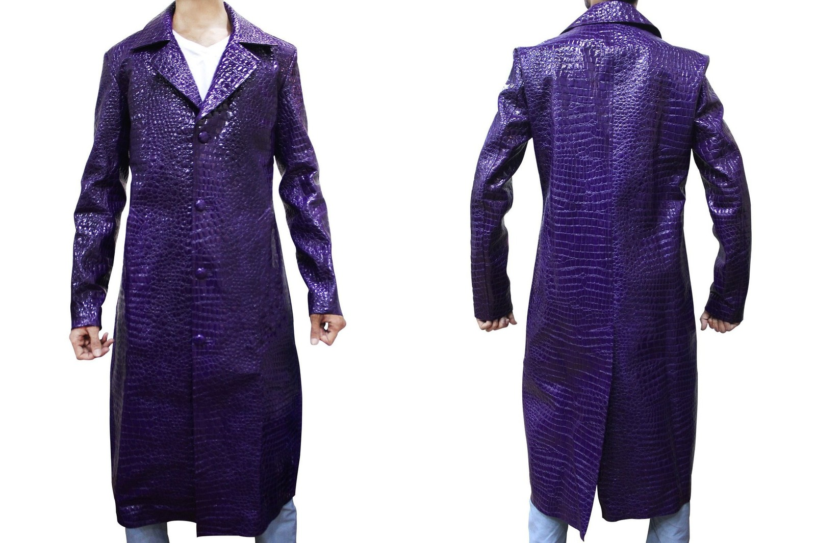 Dewuchi Suicide Squad Jared Leto Joker Purple Long Coat For Men ...