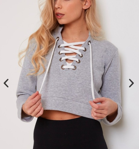 5dfd92e5db Lasula Crop Out Lace Up Cropped Sweater