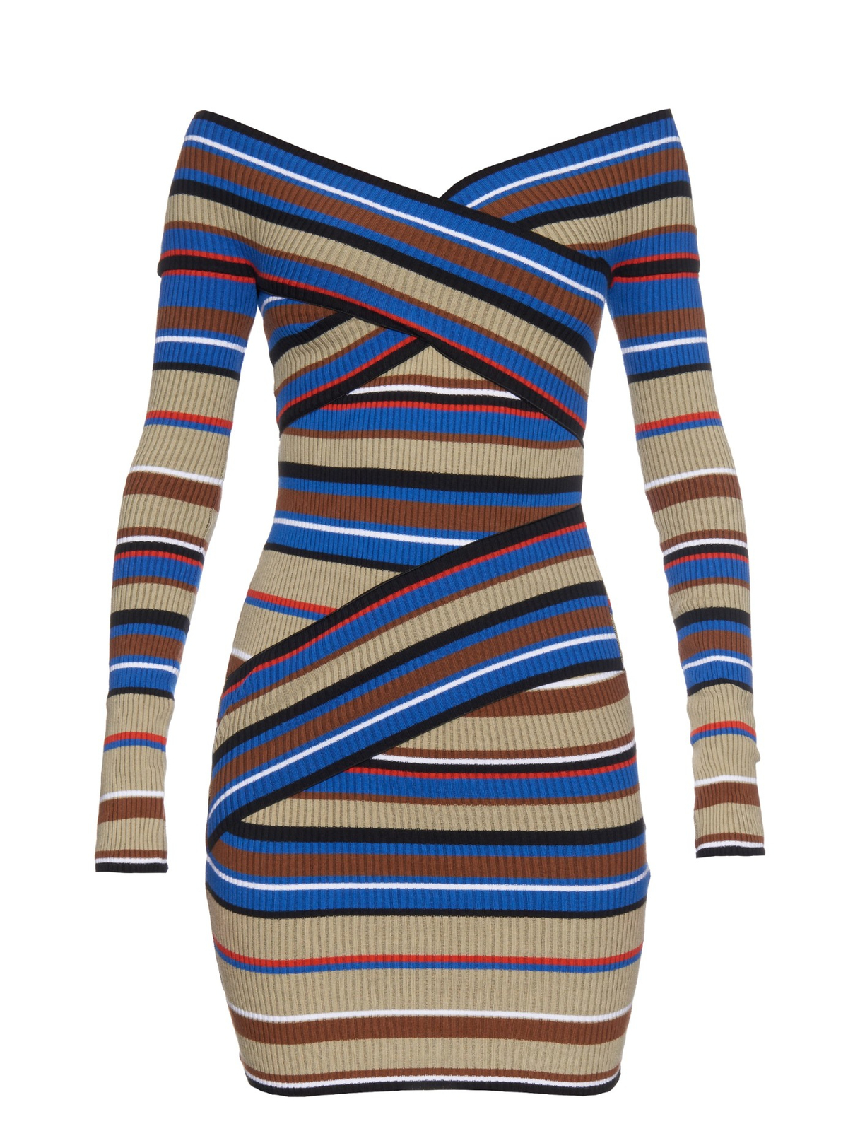 MSGM Off-the-shoulder striped sweater dress | Pradux