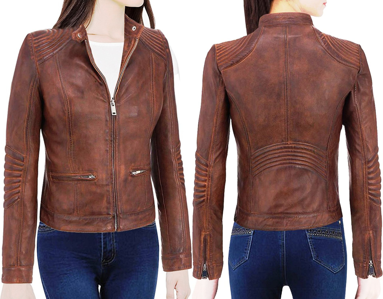 27d956e16 Cafe Racer Moto Biker Distressed Brown Vintage Leather Jacket for Female