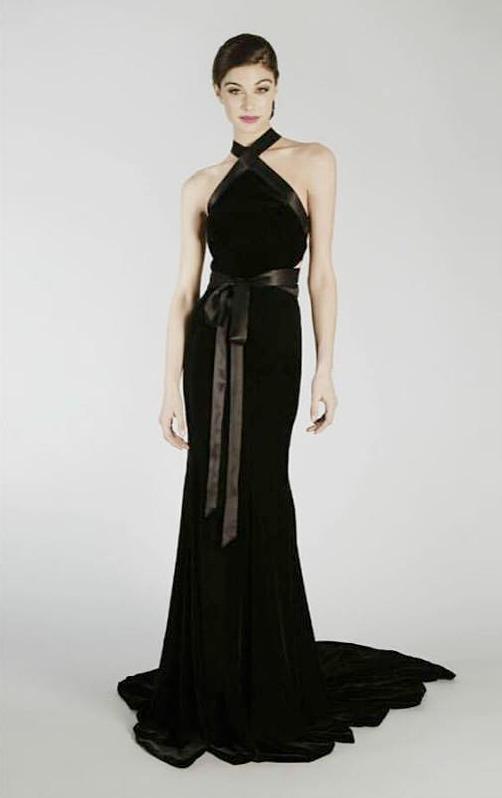 Randi Rahm Black Halter Gown | Pradux