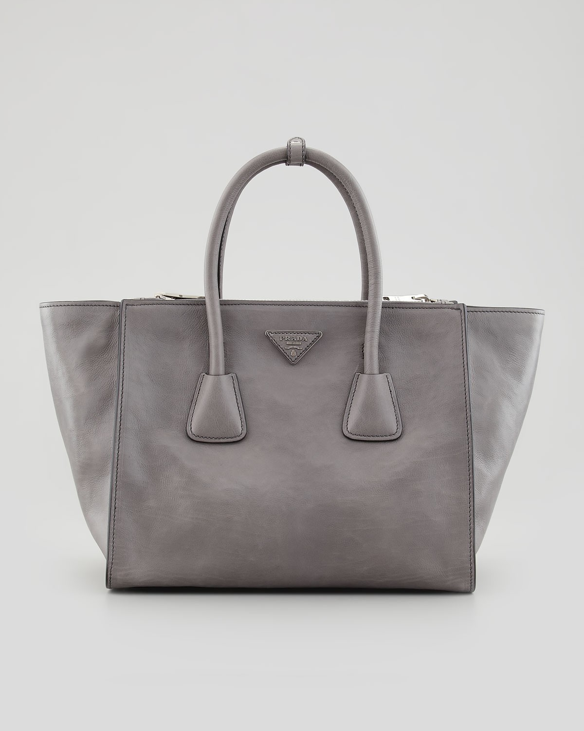 53c64cc04387 Prada Glace Calf Large Twin Pocket Tote Bag in Gray | Pradux