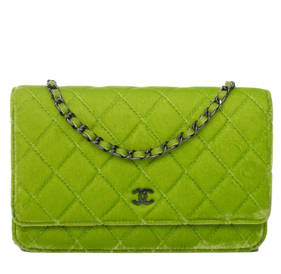 98f7048d4aea Chanel Chanel Lime Green Velvet Classic Quilted Wallet On Chain