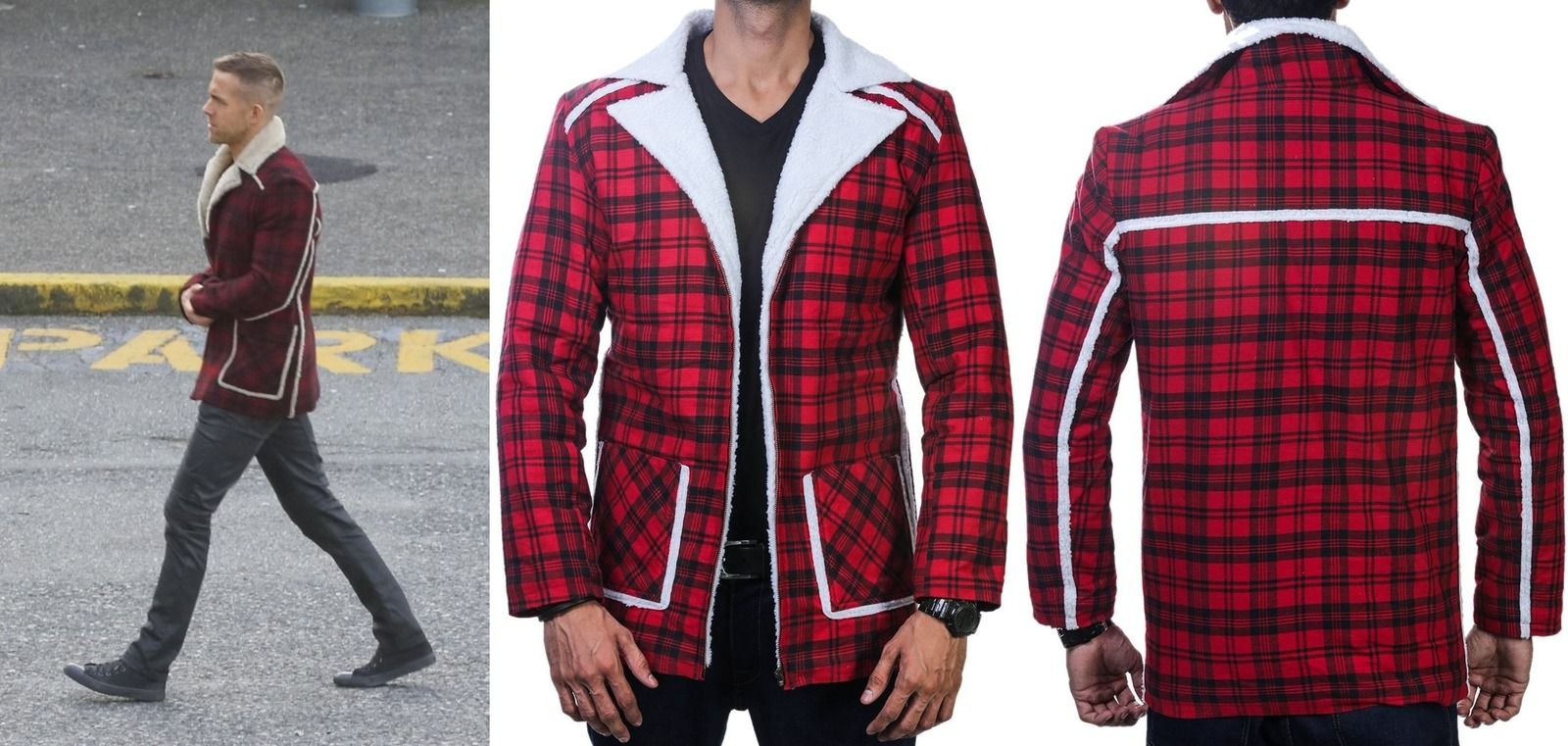 Deadpool Ryan Reynolds Red cotton flannel Shearling Jacket ...