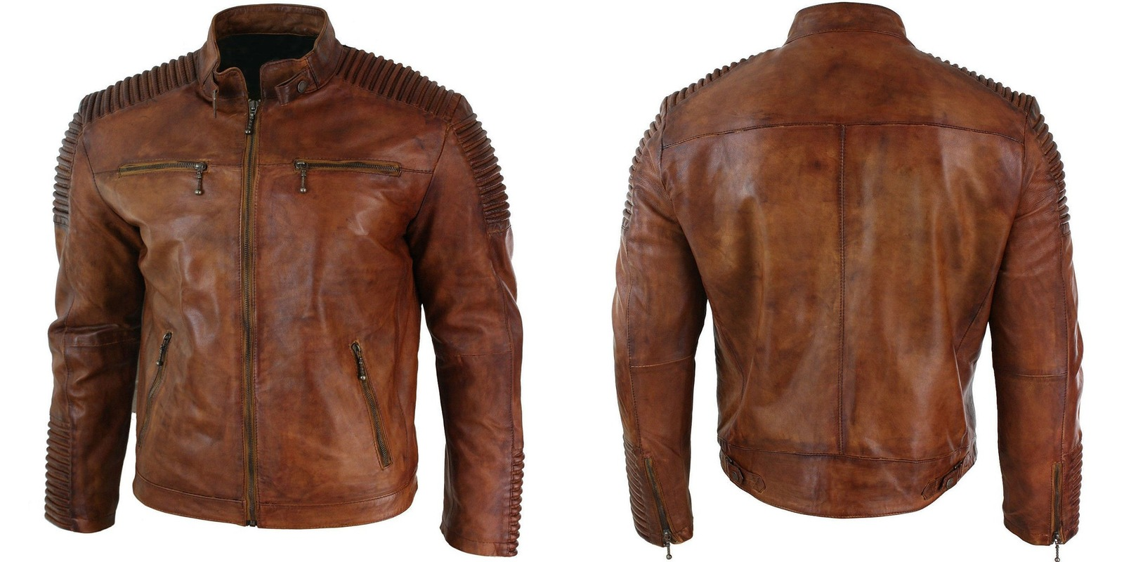 Men's Vintage Biker Cafe Racer Wax Distressed Brown Leather Jacket ...