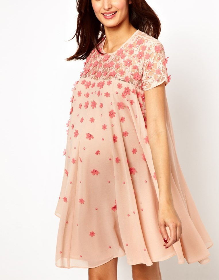 ad5d7e3f56955 Asos Maternity Exclusive Swing Dress with Floral Applique and Cap Sleeve