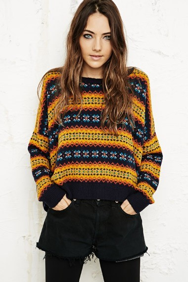 Urban Outfitters Bdg Fair Isle Pop Crop Sweater At Urban Outfitters