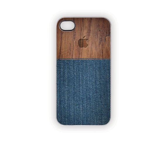 75a3b2dd5b01f9 Blue Jeans iPhone Case Faux Denim Wood Rustic Woodland Outdoors Men Women Blue  Jean Apple Country