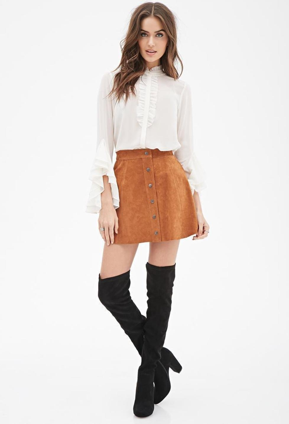2b383b0ae Forever 21 Contemporary Buttoned Suede Skirt | Pradux