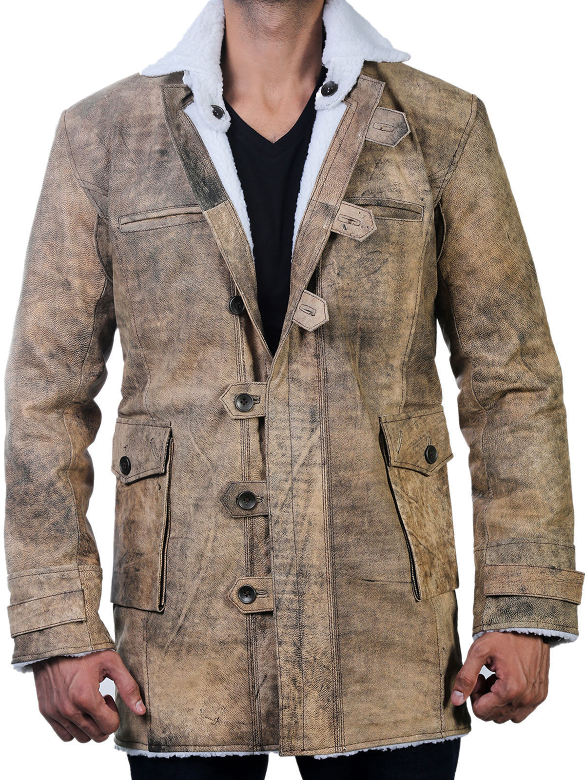 DARK KNIGHT RISES BANE MENS GENUINE LEATHER BUFFING BROWN TRENCH COAT